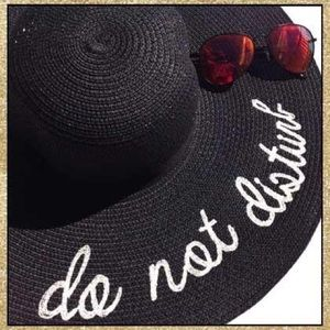 Accessories - 'Do Not Disturb' Black & Ivory Floppy Sun Hat